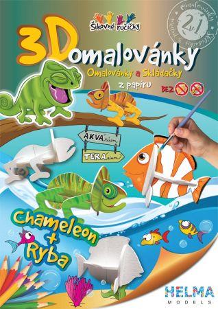 3D omalovánky Chameleon a ryba A5