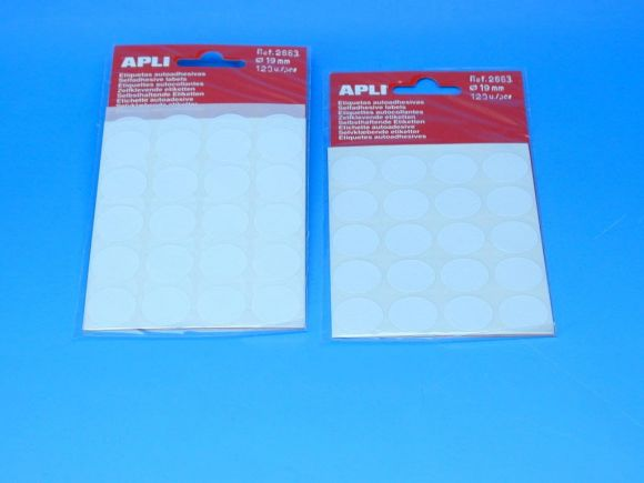 Etikety APLI pr.19mm bílé (2663)
