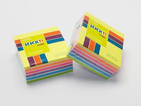 Bloček samolepící 76x76 NEON, 6 barev STICK´N /21539/