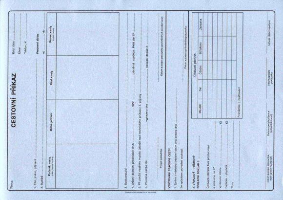Cestovní příkaz A4 s vyúčtováním, 50l /ET235/
