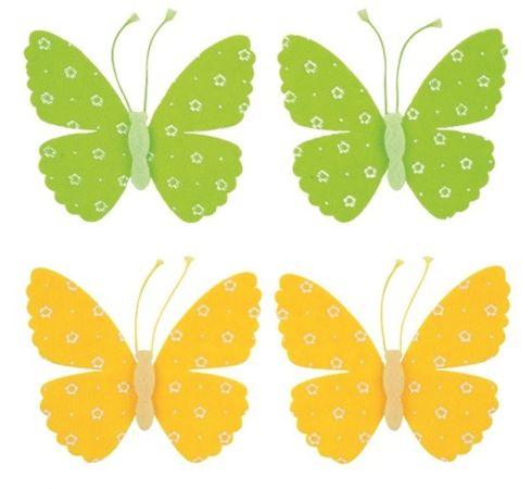 Motýl filcový 9 cm na klipu, 2 ks /8882/