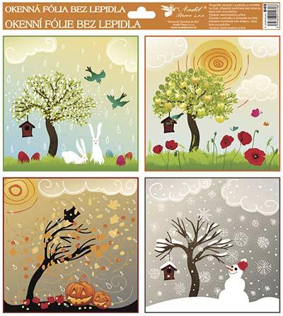 Dekorace okenní 4 roční období, dětská 33,5x30cm /849/