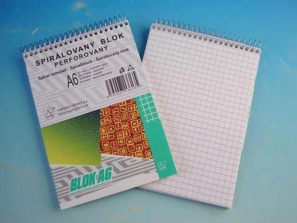 Blok poznámkový A6 čtvereček hor. spirála 50l /16055/2/