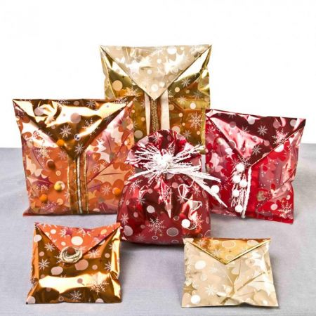 Vánoční sáček 16 x 25 cm Ornament double mix