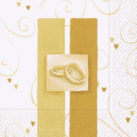 Papírový ubrousek Wedding rings gold
