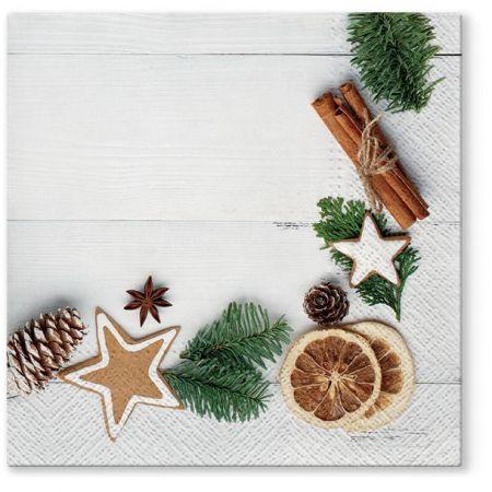 Vánoční papírový ubrousek Natural Xmas Frame
