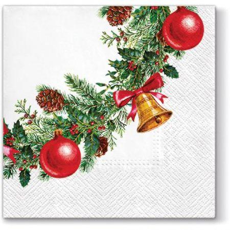 Vánoční papírový ubrousek Wreath with Bells