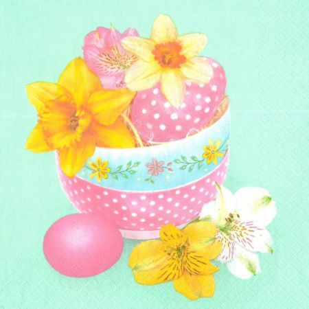 Velikonoční ubrousek Pastel Bowls with Flowers and Eggs