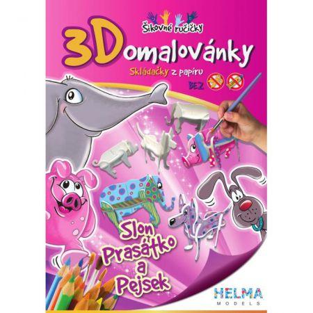 3D omalovánky Slon, prasátko, pejsek