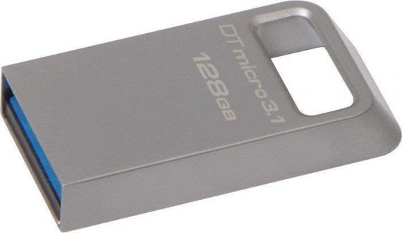 USB flash disk Data Traveler Micro, stříbrná, 128GB, USB 3.1, 100/15MB/s, KINGSTON