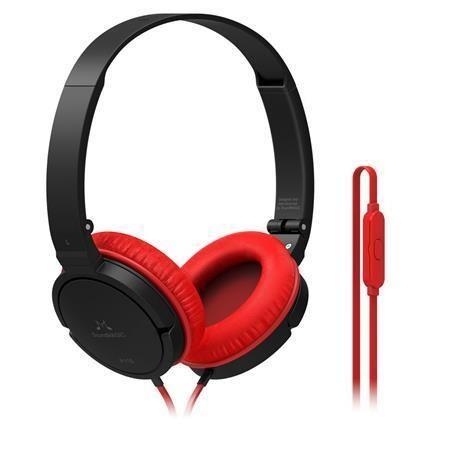 Sluchátka P11S, černo-červená, s vestavěným mikrofonem, 3,5 mm jack, SOUNDMAGIC