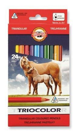 Barevné pastelky Triocolour kůň 3142/12, 24ks, trojhranné, KOH-I-NOOR