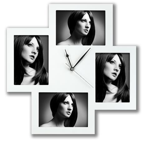 Rámečky na fotky  Bergamo, hodiny, bílá, plast