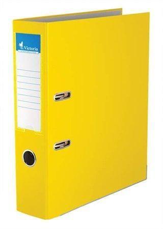 Pákový pořadač Basic, žlutý, 75 mm, A4, s ochranným spodním kováním, PP/karton, VICTORIA