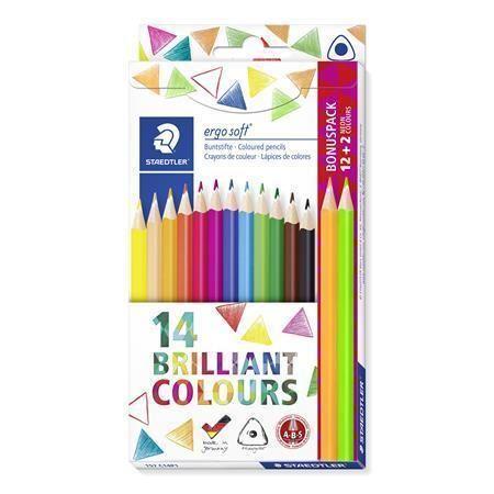 Barevné pastelky Ergo Soft, 14 barev, trojhranné, STAEDTLER 157 C14P1