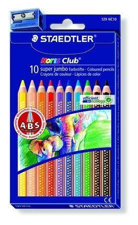 Barevné pastelky Noris Club Super Jumbo, 10 barev, sada, šestihranné, maxi, STAEDTLER