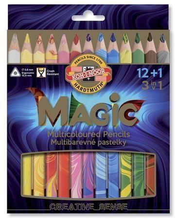 Multibarevné pastelky Magic 3408, sada různých barev 12+1, trojhranné, KOH-I-NOOR