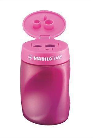 Ořezávátko, 3 otvory, se zásobníkem na odpad, pro praváky, STABILO Easy, růžové