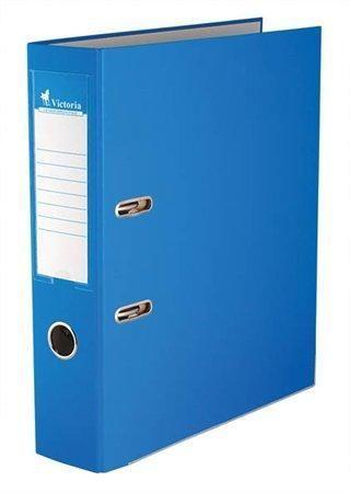 Pákový pořadač Basic, modrý, 75 mm, A4, s ochranným spodním kováním, PP/karton, VICTORIA