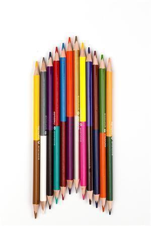 Barevné pastelky, oboustranné, trojhranná, 24 barev - 12ks, NEBULO