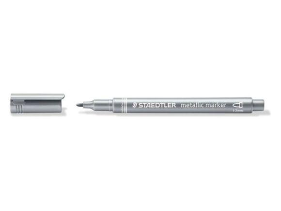 Metalický popisovač, 1-2mm, kuželový hrot, stříbrná, STAEDTLER