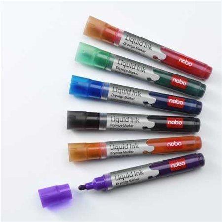 Popisovač na tabule, 6 barev, 1-3mm, tekutý inkoust, NOBO