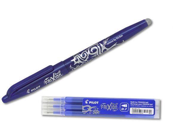 Roller FriXion Ball 0,7 modrý + 3ks modrá náplň 0,7, PILOT ,balení 4 ks