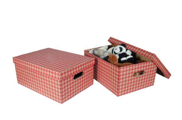 Krabice Emba úložná s víkem - červená / A3 / 44 x 32 x 20 cm