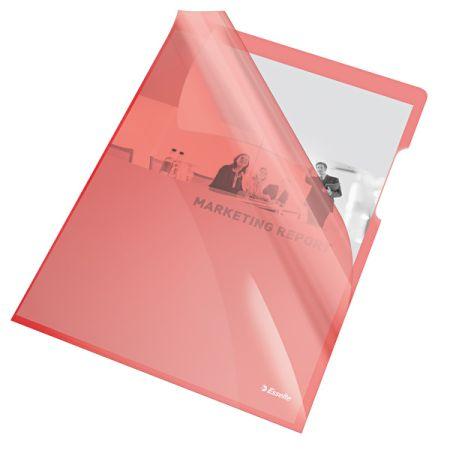 Zakládací obal A4 silný barevný - tvar L / červená 25 ks