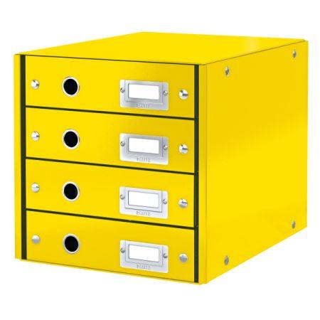 Zásuvkový box WOW - žlutá / 4 zásuvky / karton