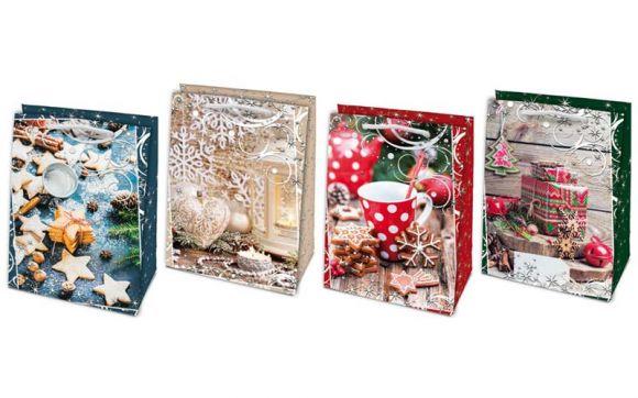 Vánoční dárková taška - L 23 x 32 cm / mix motivů
