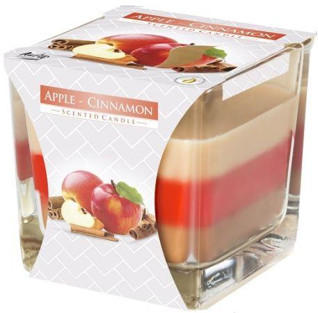 Tříbarevná svíčka ve skle - jablko/skořice