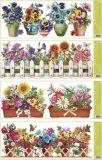 Dekorace okenní pruh truhlíkové květiny 55x22,5 cm /877/