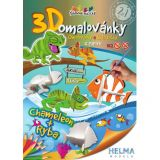 3D omalovánky Chameleon a ryba