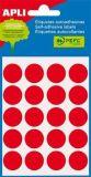 Etikety, červené, kruhové, průměr 19 mm, 100 etiket/balení, APLI ,balení 5 ks