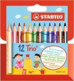 Pastelky Trio, sada, 12 různých barev, trojhranné, STABILO