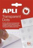 Lepící tečky Transparent Dots, průhledné, odnímatelné, APLI
