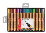 Linery Point 88, 25 různých barev, sada, 0,4 mm, STABILO