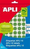 Etikety, kruhové, zelená, průměr 16mm, na ruční popis, 432 ks/bal., APLI ,balení 8 ks