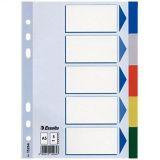 Barevné rozlišovače, mix barev, A5, plast, 5 dílů, ESSELTE