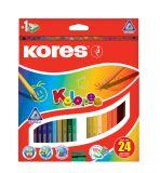 Pastelky trojhranné Kolores - 24 barev