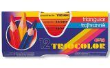 Pastelky Triocolor - 12 ks / lakované / silné