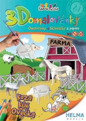 3D omalovánky Statek Ovce + koza + kůň
