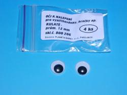 Oči 800206 12mm/4 ks kulaté