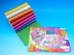 Blok barevných papírů A5 Brokát 8ks