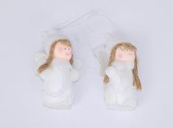 Dekorace Anděl textilní 8 cm bílý na pověšení / 3071