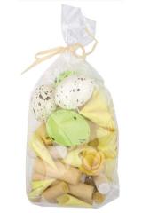 Dekorace (vejce, dřevěné ozdoby) 100 g, velikonoční žluté, zel./4308