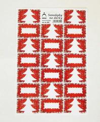 Samolepky na dárky stromky - červené 822