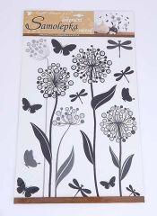 Samolepky pokoj. dekorace Květiny s glitry /10188/