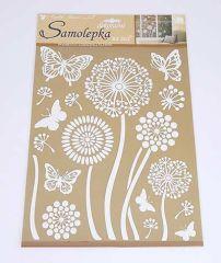 Samolepky pokoj. dekorace Bílé květy s glitry /10190/
